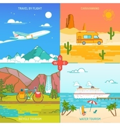 Caravaning bicycle and water tourism Icons of vector image