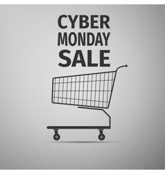 Cyber Monday sale Shopping cart flat icon on grey vector image vector image