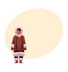 eskimo inuit woman in warm winter clothes with vector image vector image