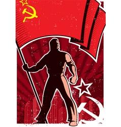 Flag Bearer Poster USSR vector image vector image