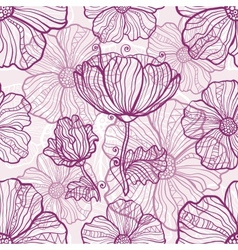 Ornate poppy flowers seamless pattern vector image vector image