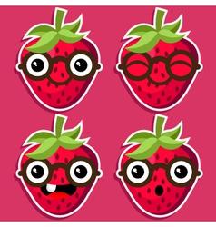 Smart Strawberries with Eyeglasses vector image