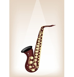 A Musical Alto Saxophone on Brown Stage Background vector image vector image