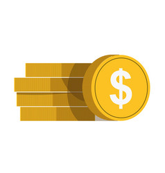 golden coins with white dollar sign in vector image vector image