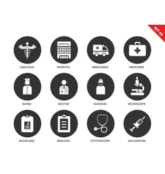 Hospital icons on white background vector image