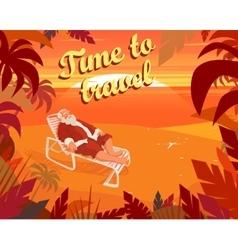 Sunset on a tropical beach summer santa claus vector image vector image