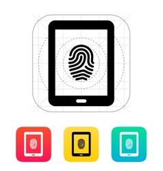 Tablet fingerprint icon vector