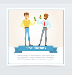 two best male friends drinking beer at meeting vector image