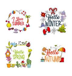 weather season winter summer autumn spring vector image