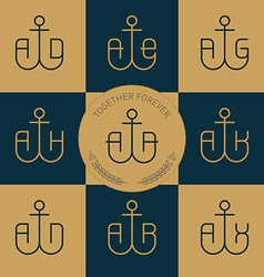 Logotype or Monograms with anchor and letters line vector image