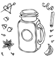 mason drinking jar vintage coctail glass hand vector image vector image