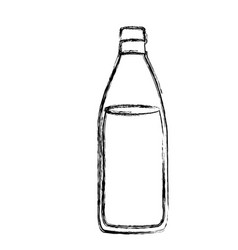 monochrome sketch silhouette with bottle of water vector image vector image