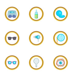 Ophthalmology icons set cartoon style vector