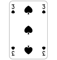 Poker playing card 3 spade vector image vector image