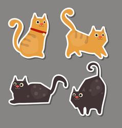 set of cute cat stickers set of cute cat stickers vector image