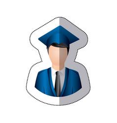 sticker colorful half body man with graduation vector image