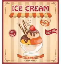 vintage banner with scoop ice cream vector image