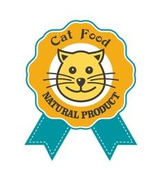 Cat Food emblem or badge vector image