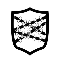 emblem with metallic barbed wire icon vector image