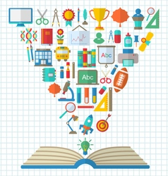 Flat Colorful Simple Icons and Textbook vector image vector image