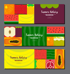 fruit banner collection summer fruit banner set vector image