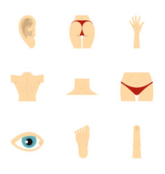 human body parts icons set flat style vector image