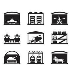 Transportation garages and warehouses vector image
