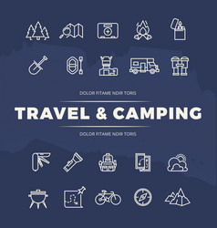 travel and camping line icons set vector image vector image