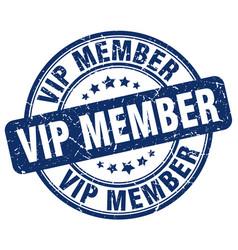 Vip member blue grunge stamp vector