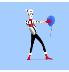 Winter mime performance with ballon vector image vector image