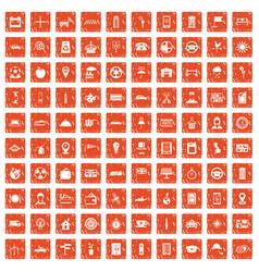 100 taxi icons set grunge orange vector