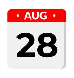 28 august calendar icon vector