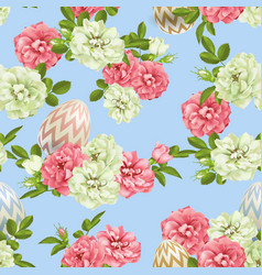 3d easter egg and roses seamless background vector image