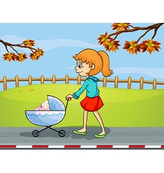 A girl pushing stroller with sleeping baby vector