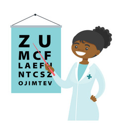 African-american ophthalmologist with eye chart vector