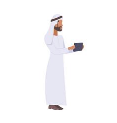 Arab businessman using smartphone communication vector