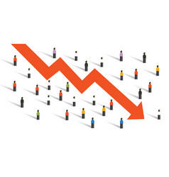 arrow down crisis economy people crowd around vector image