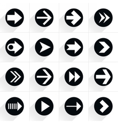 Arrow sign flat icon with long shadow vector