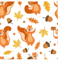 autumn seamless pattern with cute squirrel vector image