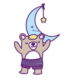 bashower cute bear half moon with star cartoon vector image