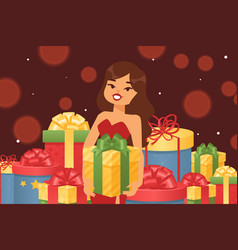 beautiful girl with festive gift box vector image