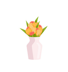 beautiful large yellow and smaller pink tulips vector image