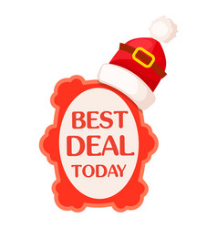 Best deal today sticker with santa cap for sale vector