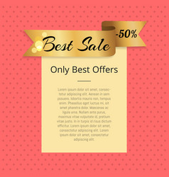Best sale offers 50 off promo poster with ribbon vector