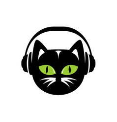 Black cat with headphones logo vector