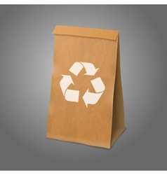 Blank craft realistic paper packaging bag with vector image