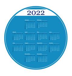 Blue circle calendar on 2022 year template vector