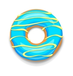 Blue glazed donut icon cartoon style vector image