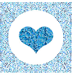 blue heart made of pixels and little hearts around vector image