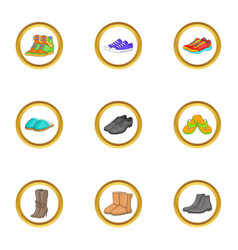 Boot icons set cartoon style vector
